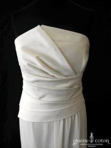 Alain Manoukian - Robe fluide en mousseline ivoire et satin (drapé)