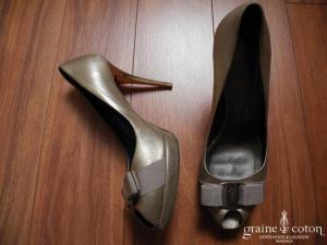 Salvatore Ferragamo - Escarpins (chaussures) ouverts bronzes