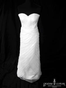 Robe fourreau en bandes d'organza blanc (sirène coeur)