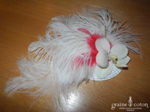 Alexia - Bibi ivoire en plume d'autruche et fleur d'orchidée