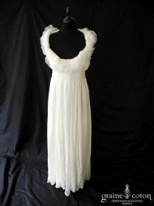 David Fielden - Robe empire en mousseline de soie fluide et tulle ivoire clair (tour de cou bretelle manches)