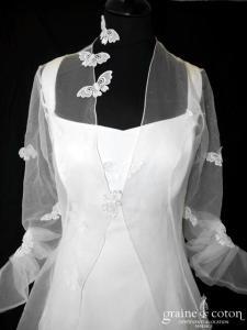 Pronuptia - Héloïse (crêpe dentelle papillons organza manteau manches bretelles)