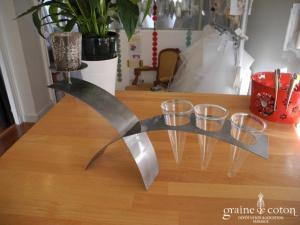 Deco2table - Centre de table en métal avec support pour 3 photophores et 3 cônes en verre
