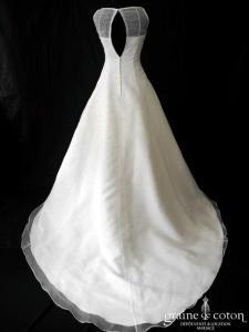 Les mariées d'Elodie - Robe en organza ivoire clair avec perles façon gouttes (bretelles)