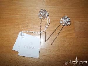 Pina - Lot de 2 pics fleurs argentés