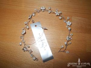 La Sposa - Fil de chignon argenté avec fines fleurs (diadème bandeau)