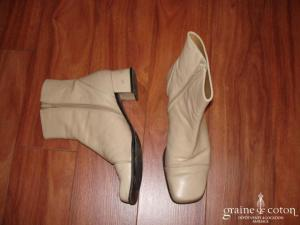 Heyraud - Bottines en chevreau beige