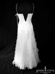 Mariées de Paris - Graham (blanche sirène fluide fourreau organza tulle bretelles tour de cou)