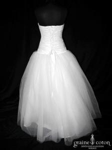 Juste un baiser - Robe taille basse en taffetas drapé et tulle ivoire clair (coeur)