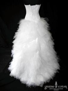 Hervé Mariage - Jupe Look et bustier Légère (mouchoirs tulle paillette dentelle blanche)