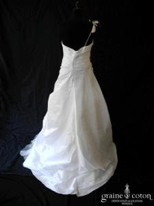 Lambert Créations - Perdita (taffetas drapé tulle blanc peinture rose bretelle dos boutonné)