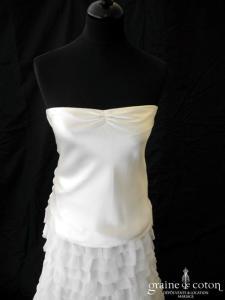 Delphine Manivet - Top Gaston et jupe Robin (courte et longue blanche et ivoire satin soie gaze bohème années 20)