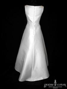 Cymbeline - Robe empire en mikado de satin blanche à encolure bateau