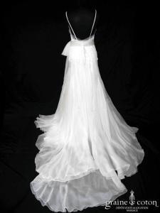 Pronovias - Caora (sirène gaze de soie organza perles bretelles noeud dos nu V fluide)