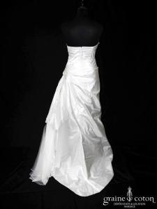 Aurèle Créations - Robe sirène en soie sauvage drapée ivoire (tulle)