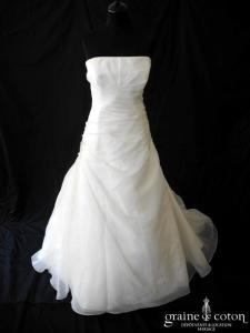 Marylise - Robe une pièce en organza drapé ivoire (bretelles)