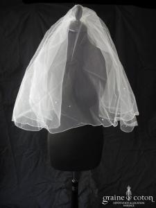 Miss Kelly - Voile court en tulle blanc avec strass (avec rabat)