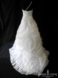 Demetrios - Modèle 3136 (blanc dentelle organza drapé perles coeur bretelles)