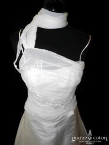 Linéa Raffaëlli - Robe deux pièces en taffetas de soie et mousseline plissée ivoire (bretelles tour cou)