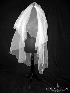 Pronovias - Voile mi long en tulle bordé de perles (avec rabat)