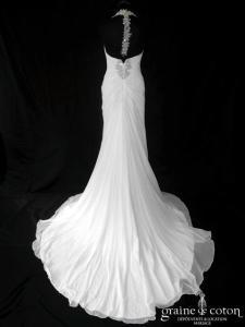 Pronovias - Baile (fluide mousseline de soie drapé bretelles tour de cou décolleté V)