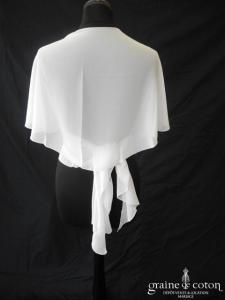 Bianco Evento - Étole arrondie en mousseline ivoire (E13)