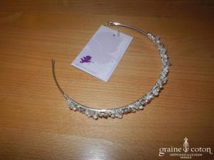 Bianco Evento - Diadème fin / headband en strass et perles, ivoire et argenté (D36)