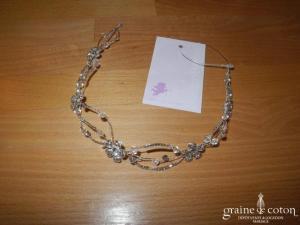 Bianco Evento - Diadème fin / headband en fil et perles argentés, fleurs strass (D37)