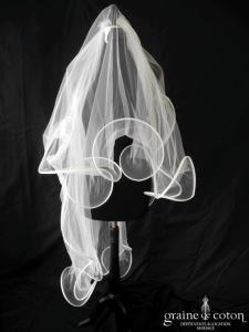Suzanne Ermann - Voile à volutes en tulle ivoire long de 2 mètres
