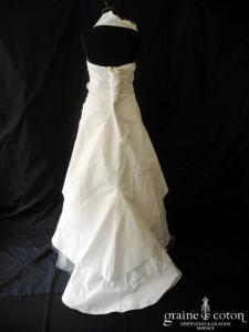 Linéa Raffaëlli - Robe drapée en taffetas ivoire clair (tour de cou tulle bretelles)