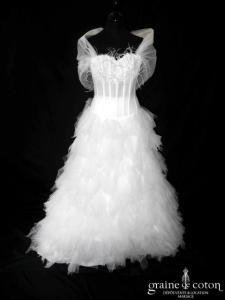 Alexis Mariage - Pelican (mouchoirs de tulle drapé plissé dentelle plumes coeur blanche)