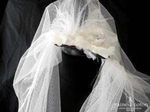 Elie Saab - Voile long de 3 mètres Meftis en tulle de soie ivoire clair