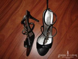 Sandales Together (Helline) en cuir noir et strass