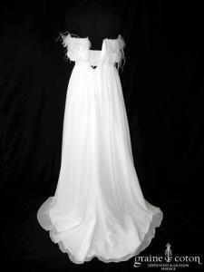 Pronuptia - Harmonie (fluide blanche mousseline plumes dos boutonné bustier)