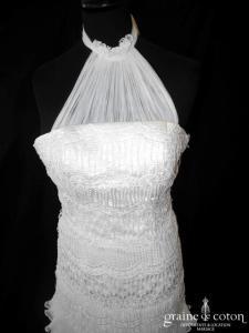 Pronuptia - Auristelle (sirène taille basse années 20 vintage tulle plissé volants tour de cou guipure dentelle fluide bohème bretelles)