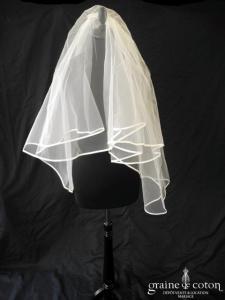 Créations Bochet - Voile court en tulle ivoire bordé d'un biais de satin