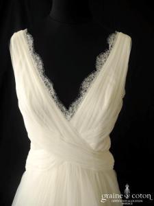 Jenny Packham - Minerva (tulle de soie plissé drapé décolleté V dos nu bretelles fluide dentelle)