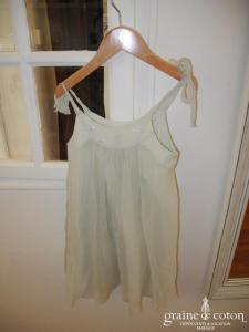 Bonpoint - Robe petite fille en mousseline de soie vert pâle