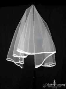Cymbeline - Voile mi long de 1m60 en tulle ivoire bordé d'un large biais d'organza