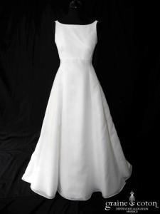 Cymbeline - Robe empire en organza ivoire (bretelles encolure bateau dos boutonné)