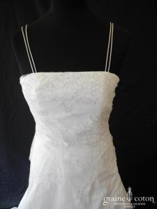 Bochet - Elise (taffetas blanche dentelle argentée bretelles)