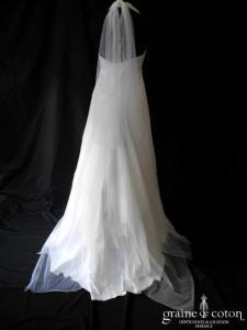 Mariées de Provence - Basilic (blanche empire satin fluide dentelle tulle tour de cou bretelle)