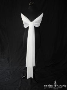 Cymbeline - Étole froncée en mousseline ivoire clair