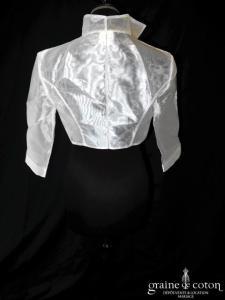 Priam -  Boléro en organza blanc à manches longues