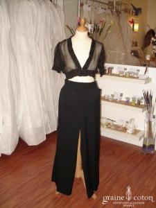 Together (Helline) - Pantalon tailleur noir avec bas fendu