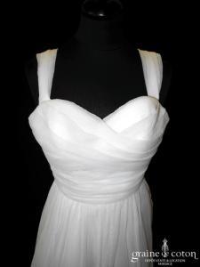 Jesus Peiro pour Nuit Blanche - Adèle (coeur mousseline de soie plissée satin de soie drapé fluide bretelles dos boutonné)