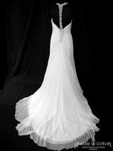 Pronovias - Pelicano (mousseline fluide bretelles drapé)