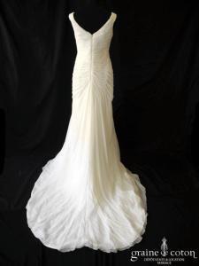Pronovias - Abaco (bretelles drapé mousseline de soie fluide sirène taille basse décolleté V)