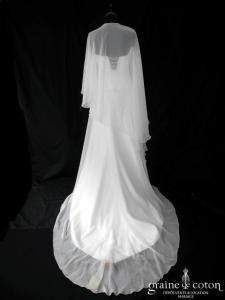 Lambert Créations - Angélique (mousseline fluide coeur manches bretelles drapé laçage taille basse)