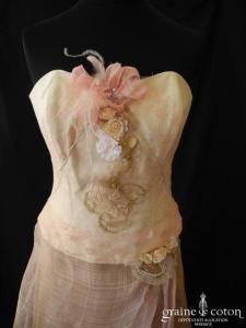 Elsa Gary - Ephémère (soie sauvage ocre sisal rose laçage coeur dentelle)